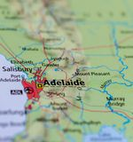 Adelaide on map. Close up shot of Adelaide.  is the capital city of the state of South Australia Stock Images