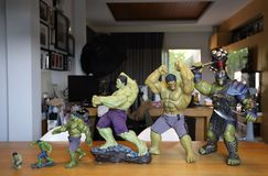 Close up shot of All Hulks in AVENGERS superheros figure in action. BANGKOK THAILAND - MARCH 5 ,2019 : Close up shot of All Hulks in AVENGERS superheros figure stock images