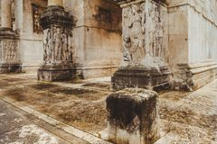 close-up shot of ancient Arch of Constantine,