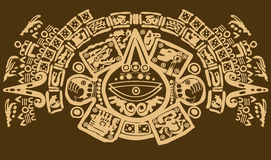 Close up shot of ancient Mayan symbols Royalty Free Stock Photography