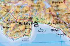 Antalya on map. Close up shot of Antalya.  is the fifth-most populous city in Turkey and the capital of its eponymous province Stock Image