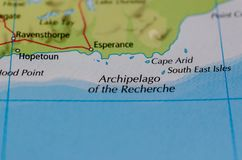 Archipelago of the recherche on map royalty free stock photos