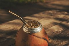 Close-up shot of Argentinean yerba mate drink royalty free stock image