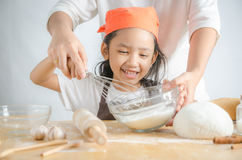 Free Close Up Shot Asian Little Girl Holding Stainless Steel Whisk An Stock Photography - 86366462