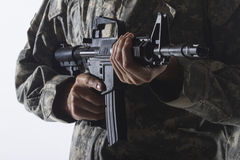 Close up shot of assault rifle, vertical Royalty Free Stock Photos