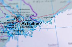 Astrakhan on map. Close up shot of Astrakhan. is a city in southern Russia and the administrative center of Astrakhan Oblast Royalty Free Stock Photos