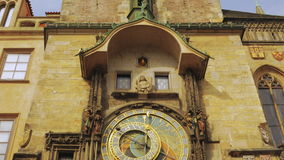 Close-up Shot of the Astronomical Clock in Prague. Ultra close-up detail shot of the famous Astronomical Clock in the Old Town Square of Prague, Czech Republic/ stock video footage