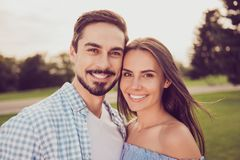 Close up shot of attractive gorgeous cute sweet partners walking royalty free stock photo
