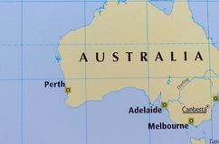 Australia on map. Close up shot of Australia on a map Stock Photography