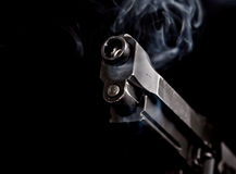Automatic gun with gun smoke 1 Stock Images