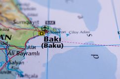 Baku on map. Close up shot of Baku. is the capital and largest city of Azerbaijan, as well as the largest city on the Caspian Sea and of the Caucasus region Royalty Free Stock Images