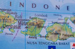 Bali on map. Close up shot of Bali. Indonesian: Pulau Bali, Provinsi Bali is an island and province of Indonesia stock photo