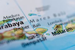 Bali on map. Close up shot of Bali. is an island and province of Indonesia stock photo