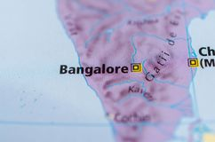 Bangalore on map. Close up shot of Bangalore. Offcially known as Bengaluru. is the capital of the Indian state of Karnataka Stock Photos