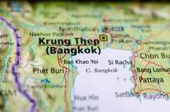 Bangkok on map. Close up shot of Bangkok. is the capital and most populous city of the Kingdom of Thailand. It is known in Thai as Krung Thep Maha Nakhon Stock Photo