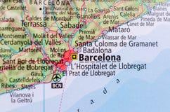 Barcelona on map Royalty Free Stock Photo