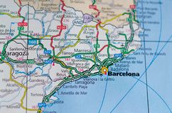 Barcelona on map. Close up shot of Barcelona on a map, the cosmopolitan capital of Spain's Catalonia region stock image