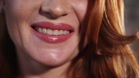 Pretty woman smiling bright stock video