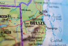 Belize on map. Close up shot of Belize. formerly British Honduras, is an independent Commonwealth realm on the eastern coast of Central America Stock Image