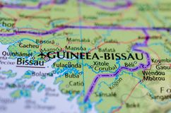 Bissau on map. Close up shot of Bissau. is the capital city of the African Republic of Guinea-Bissau Stock Photo