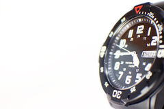 Close-up shot of a black wristwatch with copy space Stock Photography
