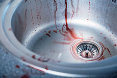 Close-up shot of bloody kitchen sink Stock Photography