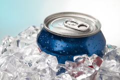 Close up shot of blue cola can Royalty Free Stock Photography