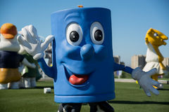 Close up shot of blue mascot character stock photography