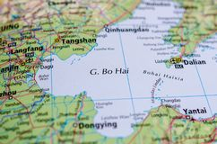 Bohai Sea on map. Close up shot of Bohai Sea. is the innermost gulf of the Yellow Sea and Korea Bay on the coast of Northeastern and North China Stock Images