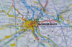 Bordeaux on map Royalty Free Stock Photo