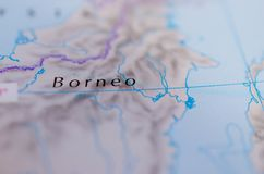 Borneo on map. Close up shot of Borneo on map.  Malay: Pulau Borneo, Indonesian: Kalimantan. is the third-largest island in the world and the largest in Asia Stock Photos