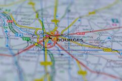 Bourges on map. Close up shot of Bourges on map, is a city in central France on the Yèvre river Stock Image