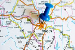Brasov on map. Close up shot of Brasov on map with blue push pin Stock Photos