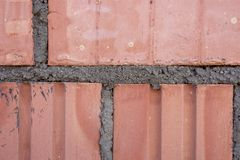 Close-up shot of Brick wall pattern texture background stock photography