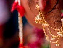 Close up shot of bridal jewellary stock photo