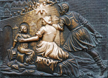 Close up shot of bronze board on Charles bridge Royalty Free Stock Image
