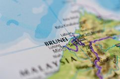 Brunei on map Royalty Free Stock Photography