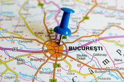 Bucharest on map. Close up shot of Bucharest on map with blue push pin royalty free stock photos
