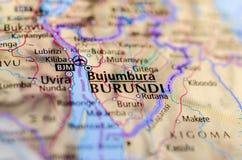 Bujumbura on map. Close up shot of Bujumbura. Usumbura. is the capital, largest city, and main port of Burundi Royalty Free Stock Photo
