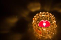 Close up of shot burning candle. Close up shot burning candle inside glass jar  on black background Stock Image