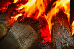 Close up shot of burning firewood royalty free stock images