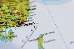 Busan on map. Close up shot of Busan. Pusan. is South Korea`s second most-populous city after Seoul Stock Photo