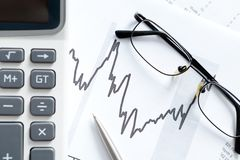 Close up shot of business documents and glasses Royalty Free Stock Photos
