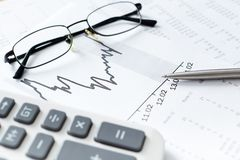 Close up shot of business documents and spectacles Stock Photo