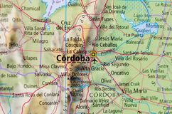Córdoba on map. Close up shot of Córdoba.  is a city in the geographical center of Argentina, in the foothills of the Sierras Chicas on the Suquía River Stock Image