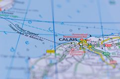 Calais on map. Close up shot of Calais  on map, is a port city in northern France Stock Photos