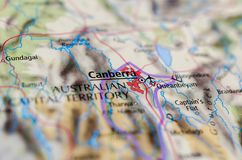 Canberra on map. Close up shot of Canberra on map. is the capital city of Australia Stock Image