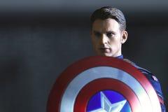 Close up shot of Captain America ,Civil War superheros figure. BANGKOK THAILAND - NOVEMBER 21,2018 : Close up shot of Captain America ,Civil War superheros royalty free stock image