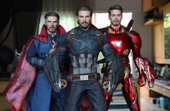Close up shot of Captain America ,Doctor Strange and Ironman ,superheros figure in action