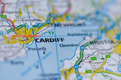 Cardiff on map. Close up shot of Cardiff on a map stock photo
